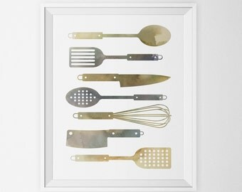 INSTANT DOWNLOAD - Kitchen Utensils Watercolor Print Neutral Spoon Spatula Whisk Knife Painting Minimalist Digital Poster Wall Art Printable