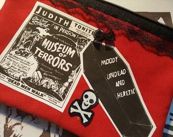 Deathrock Goth Terror Creepy Red Coffin Terrorama Skull Wallet Purse Cosmetic Bag