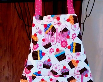 Toddler Apron with Matching Hat