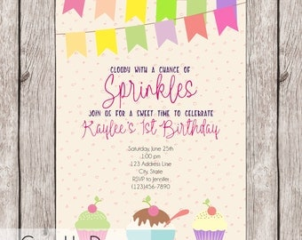 Limited Sale ** 25 Printed Invitations - Cloudy with a Chance of Sprinkles - Cupcakes, Ice Cream Birthday Invitation - Girly, Pink - 5x7