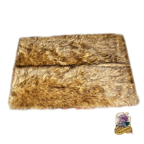 Plush Faux Wolf Pelt Rug / Rich Brown Tone Pelt Carpet