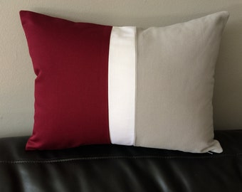 Color Block Pillow Cover, Burgundy Pillow Cover, Grey Pillow Cover