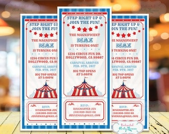 Circus Invitation - Carnival Party Invitation - Circus Birthday Party