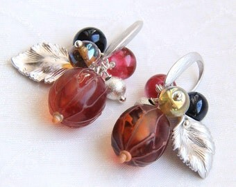 Glass lampwork earrings with red gooseberry beads
