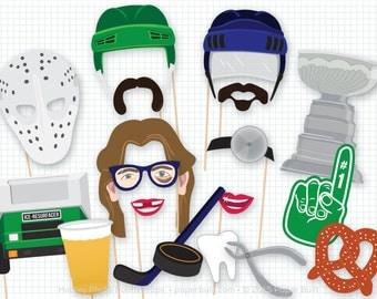 Hockey Photo Booth Props, Photobooth Props, Hockey Decor, Hockey Mom, Hockey Fan, Puck, Hockey Stick, I Love Hockey, League Champion, Helmet