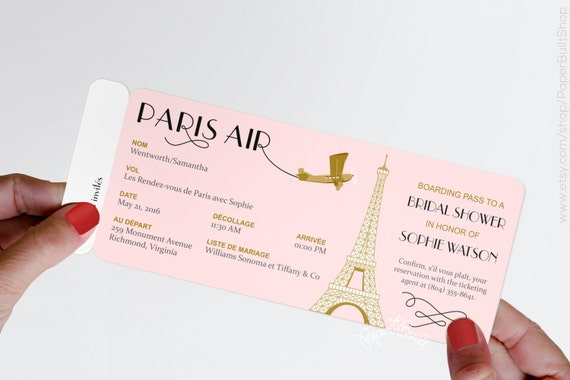 Paris theme party boarding pass invitation real airline like this item stopboris Choice Image