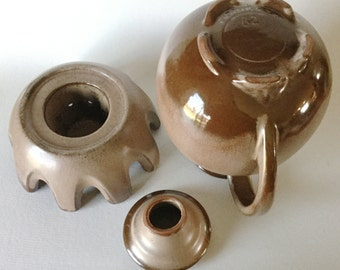 MCM Frankoma Satin Brown Carafe 82 w/ Warming Stand Sapulpa Clay Pottery USA
