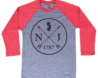Homeland Tees New Jersey Arrow Tri-Blend Raglan Baseball Shirt