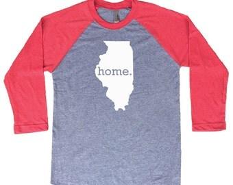 Homeland Tees Illinois Home Tri-Blend Raglan Baseball Shirt