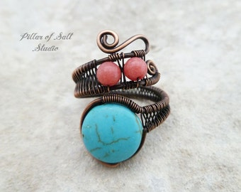 Copper Wire wrapped ring / boho jewelry / wire wrapped jewelry handmade / copper jewelry / wire jewelry / turquoise and coral / adjustable