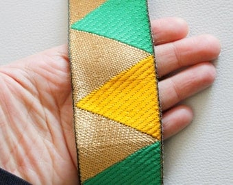 Green, Yellow And Gold Temple Border Embroidery Lace Trim, Approx. 48mm Wide - 140316L237B