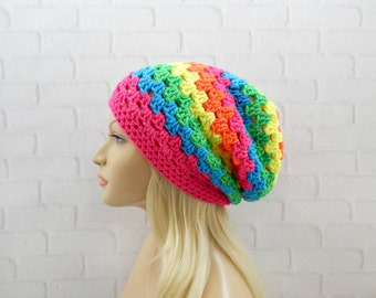 Neon Rainbow Slouchy Beanie, Womens Crochet Hat, Slouchy Winter Hat, Rainbow Crochet Beanie, Rainbow Crochet Hat, Granny Stitch Beanie