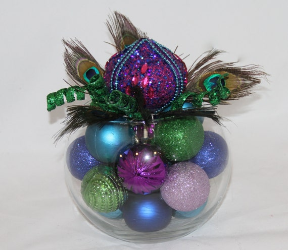 Peacock christmas centerpiece purple green and turquoise
