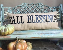 Oversized BURLAP BENCH PILLOW -Extra long lumbar burlap pillow for the front porch with two custom greetings