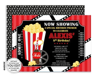 Movie Invitation, Movie Party, Movie Birthday Invitation, Movie Invite, Movie Ticket Invitation, Movie Night Invitation, Movie Ticket |505