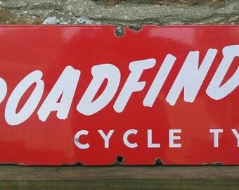 """Vintage """"ROADFINDER cycle tyres"""" enamel sign"""