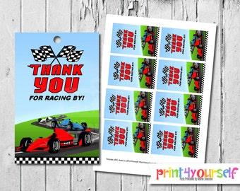 Racing favor tags - Racecar favor tags - Printable Favor Tags - birthday favor tags - gift tags - thank you tags - birthday