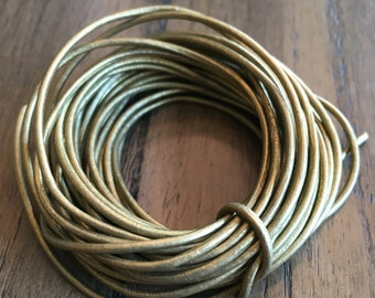 1.5 gold metallic round leather cord, antique gold, bronze gold leather cord