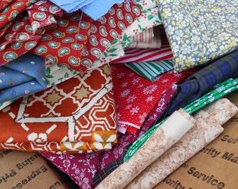 Instant Quilt,  Five Pounds of Fabric, Thirty + Different Patterns/Colors, Quilt Mix, Cotton Blend, Calico, 210a
