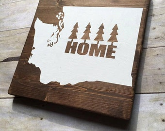 Wood Sign, Washington State Sign, State Sign, Pacific Northwest Decor, Seattle Decor, Home Sign, 12x12 Sign