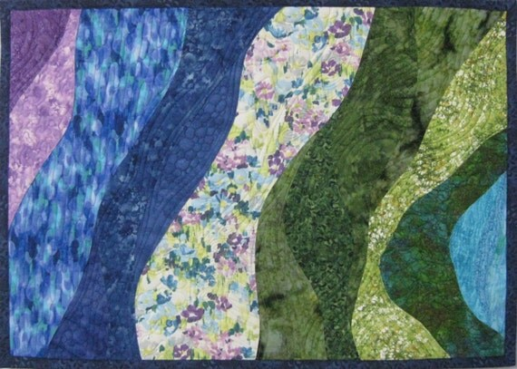 Art Quilt Gardens and Ponds 2, Quilted Wall Hanging