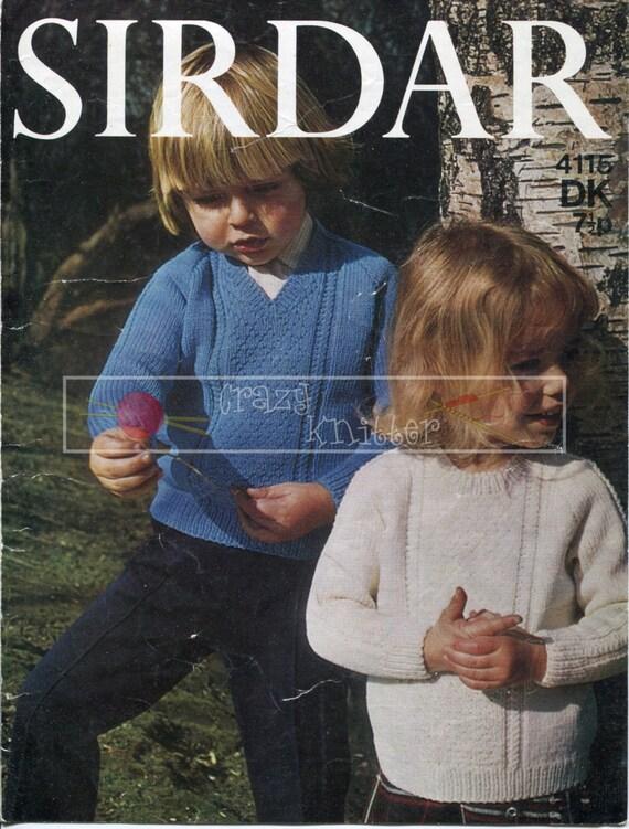 Baby Raglan Sweater 2-4 Years DK Sirdar 4115 Vintage Knitting Pattern PDF instant download
