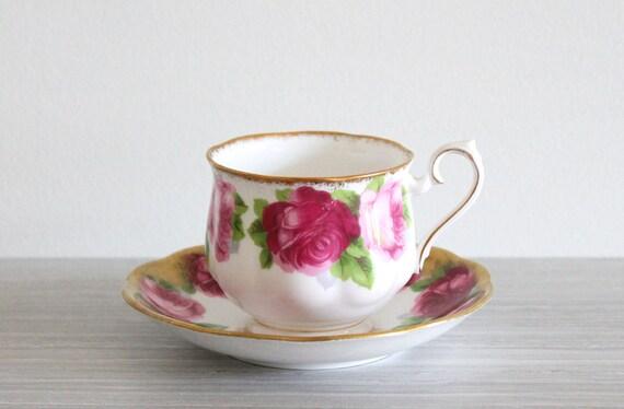 shabby chic royal albert old english rose tea cup saucer. Black Bedroom Furniture Sets. Home Design Ideas