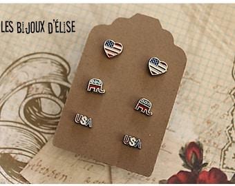 3 Pairs of Republican or Democrat Post Earrings Stud Earrings sets