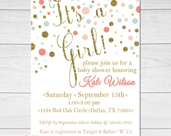 Printable Baby Shower Invitation / Gold mint coral & peach  / Customizable / Digital PDF or JPG /