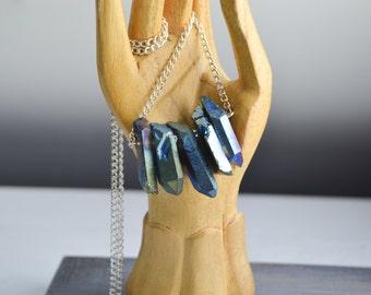 Collier court en pointes de quartz brutes - Collier quartz AB  - Collier quartz aura - collier pierre - collier fin - quartz titanium