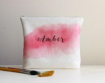 Watercolor cosmetic bag, MakeUp bag, Personalized, Monogrammed, Bridesmaid gift
