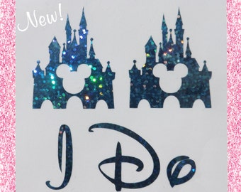 NEW Disney Inspired Castle I Do Shoe Stickers You Pick Color Sparkly Wedding Shoe Decals