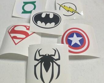 Superhero Decals Flash, Green Lantern, Captain America, Batman and Spiderman