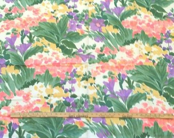 "Vintage 1970 Swiss Fabric ~ Watercolor ~ Rayon ~ 1 yard 15"" long x 50"" wide"