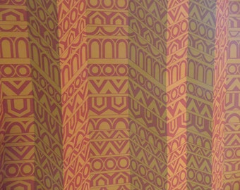 Op Art orange and gold wallpaper roll / vintage partial roll of modern design