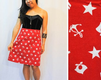Red midi skirt with nautical print