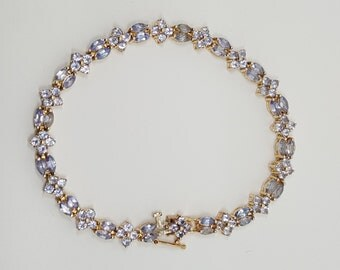 5ctw Tanzanite Tennis 14K Yellow Gold Bracelet