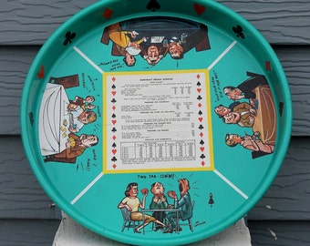 Fabulous and Fun Vintage Turquoise Masonware Bar Tray with Graphics by Joe Carpenter