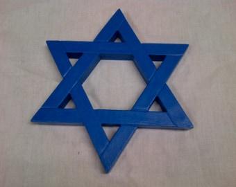 Jewish Star Magen David - Star of David 6 Inch Durable Hard Plastic - Blue