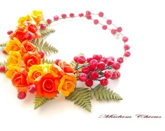 Necklace with berries, autumn necklace with roses ornament, pendant with berries, a necklace made of polymer clay