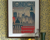 London City Art Deco Bauhaus Poster Print A3 A2 A1 Vintage Retro Original Design 1940's Vogue Cityscape Travel