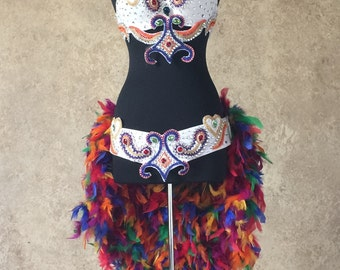 Pick Size-Rainbow 2pc Sequin Rhinestone Beaded Feather Theater Showgirl Costume Moulin Burlesque Carnival