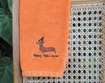 Embroidered Happy Hallowiener Dachshund Hand Towel
