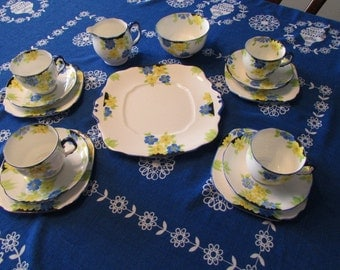 ROYAL ALBERT SET 15 pc antique Hand Painted Crown China Tea set blue and yellow posies Gs250