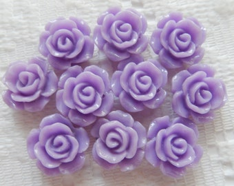 10  Lavender Purple Rose Flower Flat Back Acrylic Beads  13mm