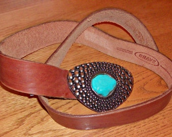 Vintage Turquoise Stone Buckle with Leather Belt