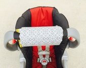 Car Seat ARM PAD Handle Cushion-REVERSIBLE- Cute Grey White Geometric Pattern