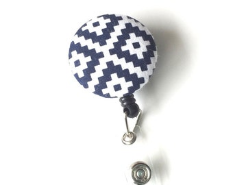 Retractable ID BADGE Reel Holder, Lanyard - Navy Blue Geometric Print