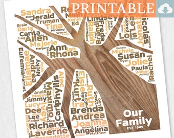 Personalized Family Tree Art Digital Download Print - BR1212D