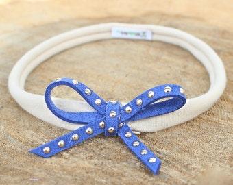 Infant Headband - Blue Bow Headband - Infant Headband - Handmade Headband - Bow Headpiece - Headband Bow - Baby Accessories, Blue Headband